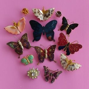 Shell butterfly lot with yellow rhinestone flower